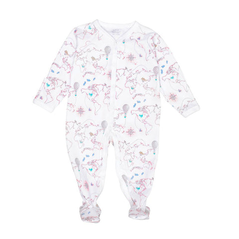 Livly Simplicity Babygro Pink World Map