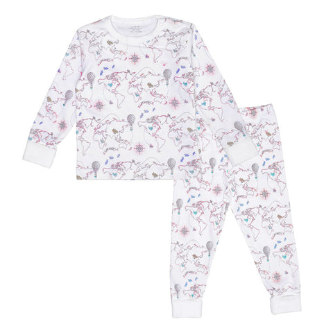 Livly Girl's PJs with Pink World Map