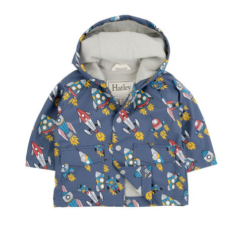 Retro Rockets Baby Raincoat