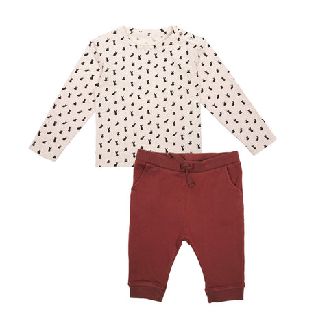 Emile et Ida Rabbit Print Top & Fig Trousers Set (Incl. Gift Box)
