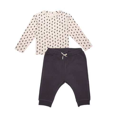 Emile et Ida Rabbit Print Top & Cotton Trousers Set (Incl. Gift Box)