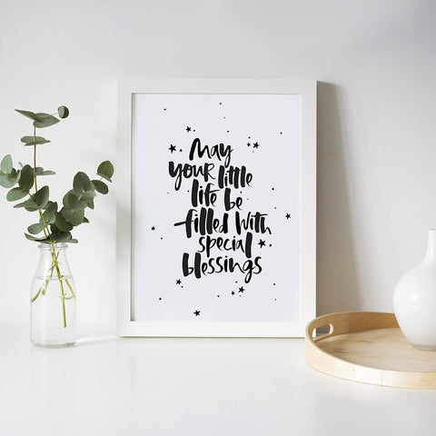 Too Wordy 'Special Blessings' A4 Nursery Print