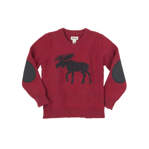 Moose V-Neck Sweater with Elbow Patches