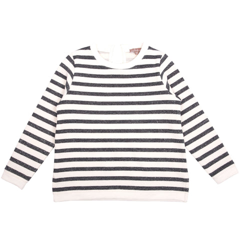 Cream and Navy Striped Sweatshirt