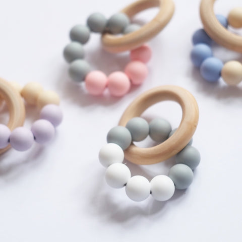 Blossom & Bear Colour Block Teething Toy Cream/Blue