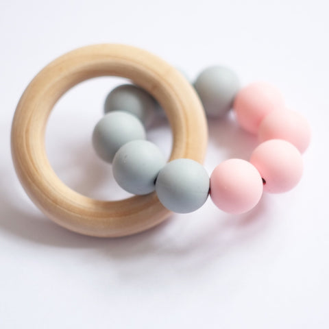 Blossom & Bear Colour Block Teething Toy Pink/Grey