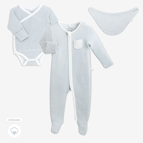 Baby Mori 'Welcome to the World' Gift Set Blue (with Bib)