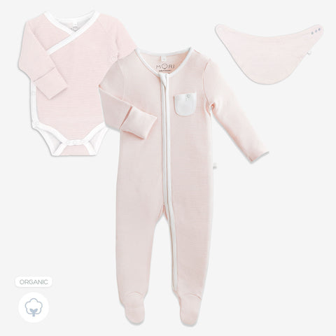 Baby Mori 'Welcome to the World' Gift Set Blush (with Bib)