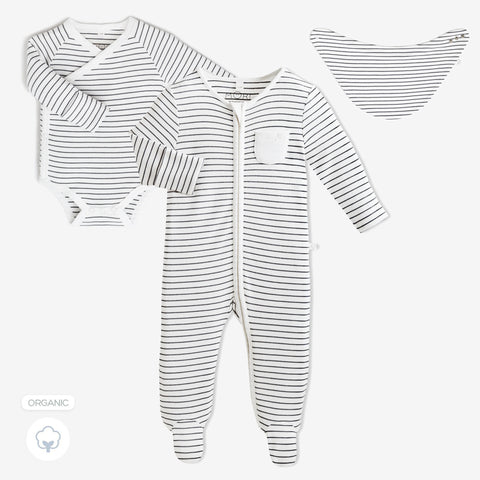 Baby Mori 'Welcome to the World' Gift Set Grey Stripe (with Bib)