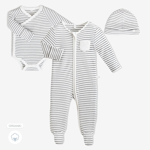 Baby Mori 'Welcome to the World' Gift Set Grey Stripe (with Hat)