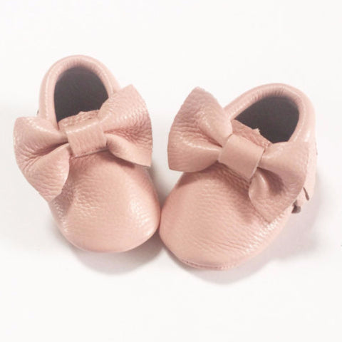 Baby Pink Bow Moccasins - Premium Leather