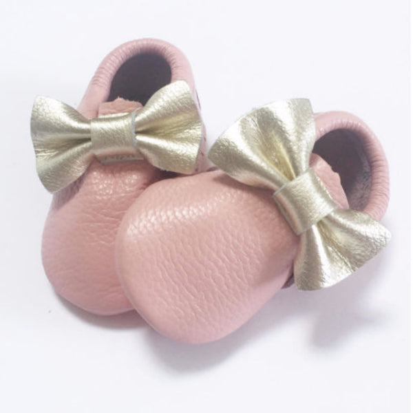 Baby Pink with Gold Bow Moccasins - Premium Leather