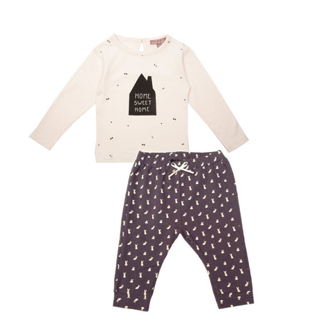 Emile et Ida Home Sweet Home Top & Rabbit Print Trouser Set (Incl. Gift Box)