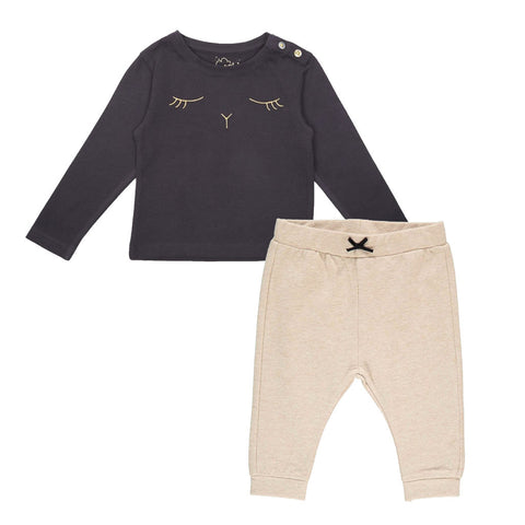 Emile et Ida Gold Bunny Top & Cotton Trousers Set (Incl. Gift Box)