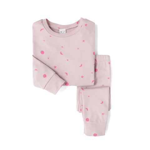 Sleepy Doe PJ Set: Pink Neon Moons