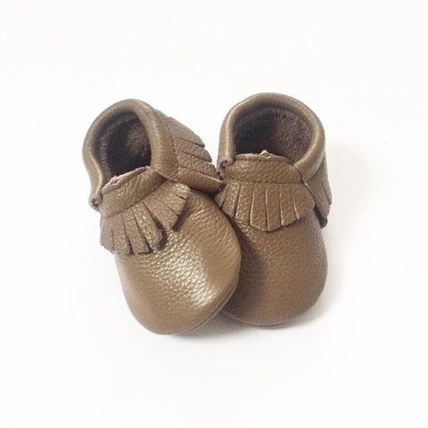 Coffee Fringe Moccasins – Premium Leather