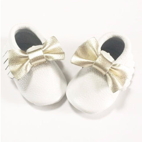 White with Gold Bow Moccasins - Premium Leather