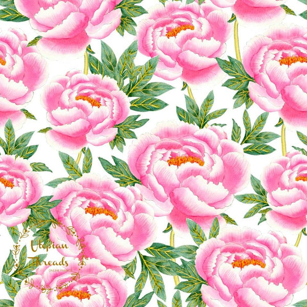 CUSTOM DIGITAL WOVEN (Cotton Sateen 130gsm) Exquisite Florals - Blooms Pink