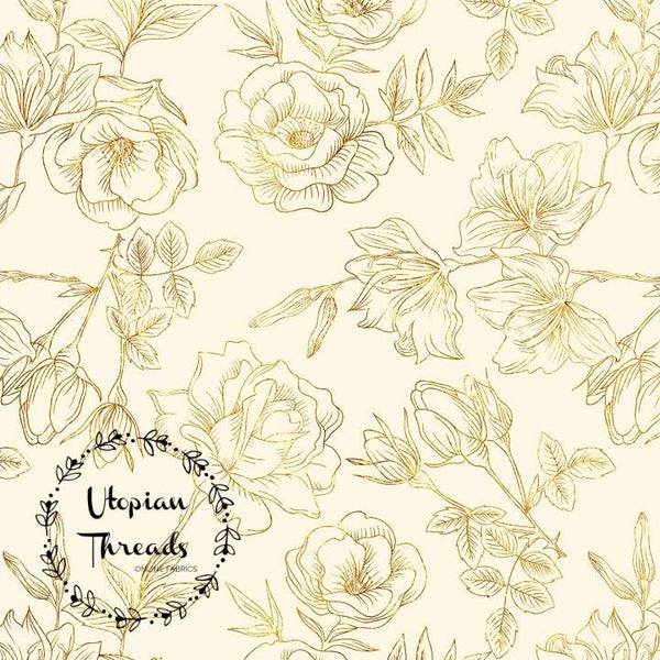 CUSTOM DIGITAL WOVEN (Cotton Sateen 130gsm) Stencil Floral - Cream