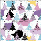 CUSTOM DIGITAL WOVEN (Cotton Sateen 130gsm) Abstract Christmas - Trees White