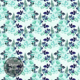 CUSTOM DIGITAL WOVEN (Cotton Sateen 150gsm) Aqua Lace Luxe - Design C