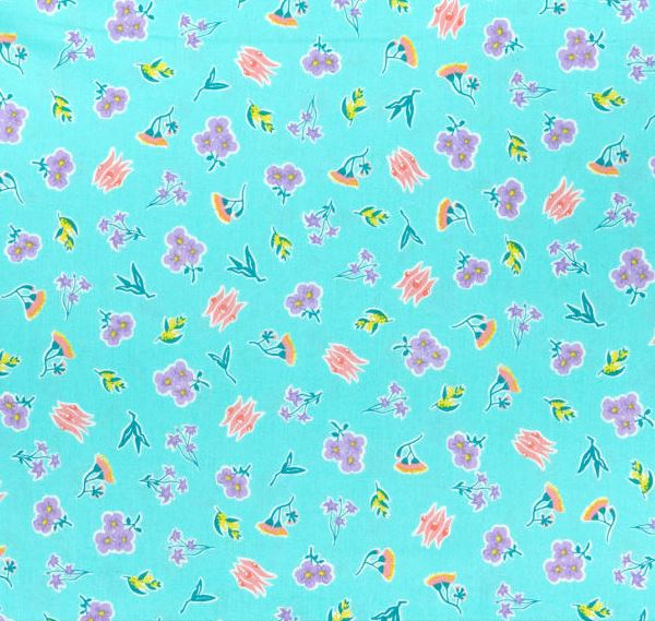 AROUND OZ Ditzy Floral Coastal (GOTS Certified Organic Quilting Cotton) - SALE $23.00 p/m