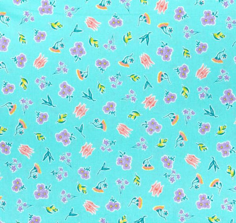 AROUND OZ Ditzy Floral Coastal (GOTS Certified Organic Quilting Cotton)