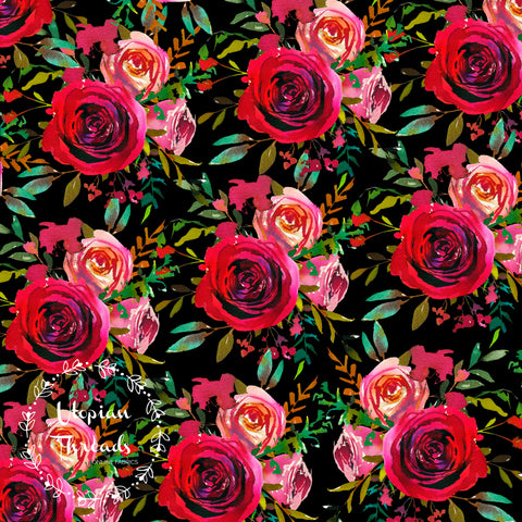 CUSTOM DIGITAL FABRIC Berry Christmas - Ruby Floral on Black - NEW ARRIVAL