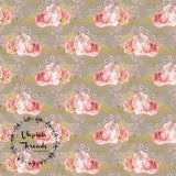 CUSTOM DIGITAL WOVEN (Cotton Sateen 150gsm) Blushing Bees - Bouquet Cocoa