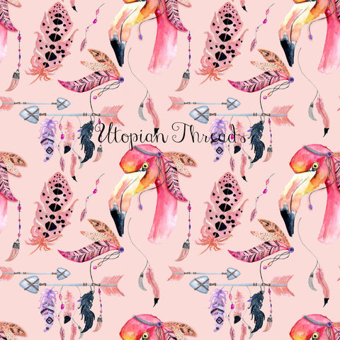 CUSTOM DIGITAL FABRIC Bohemian Flamingos - Pink - BY REQUEST