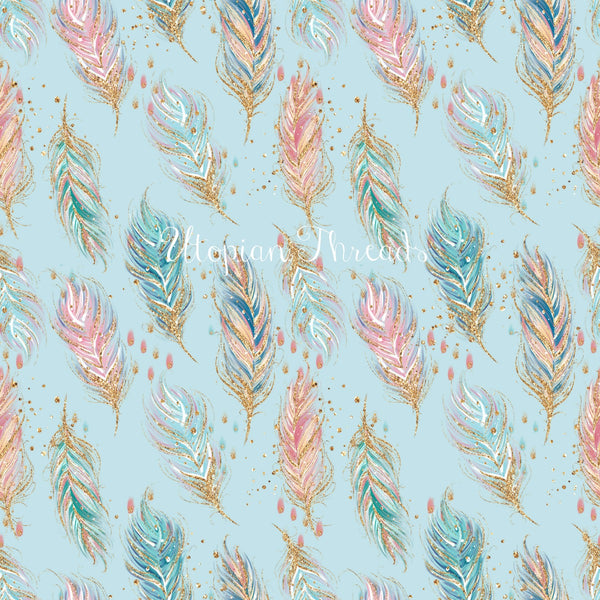 CUSTOM DIGITAL WOVEN (Cotton Sateen 140gsm) Woodland Boho Feathers Soft Blue
