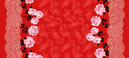 BOUDOIR Femme Fatale Red Double Border - SALE $17.00 p/m