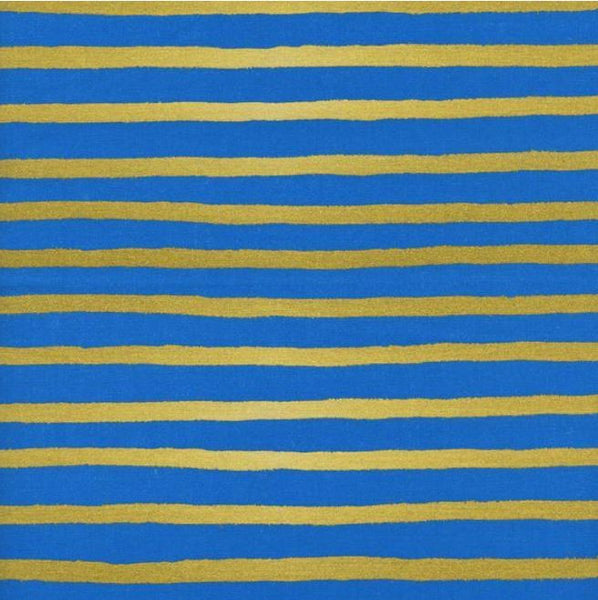 WONDERLAND Cheshire Stripe Cobalt Blue Gold Metallic - SALE $19.00 p/m