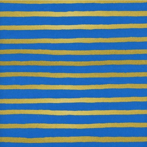 WONDERLAND Cheshire Stripe Cobalt Blue Gold Metallic - SALE $17.00 p/m
