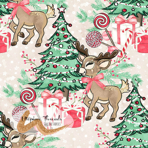 CUSTOM DIGITAL FABRIC Woodland Christmas - Around the Tree Natural - PRE ORDER (Sept/Oct 2020)