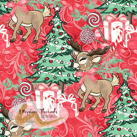 CUSTOM DIGITAL FABRIC Woodland Christmas - Around the Tree Red Damask - PRE ORDER (Sept/Oct 2020)