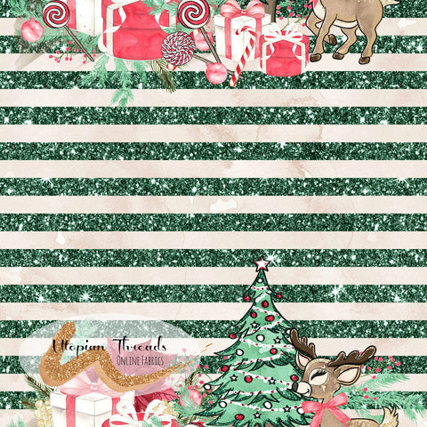 CUSTOM DIGITAL FABRIC Woodland Christmas - Jolly Stripes Green - PRE ORDER (Sept/Oct 2020)