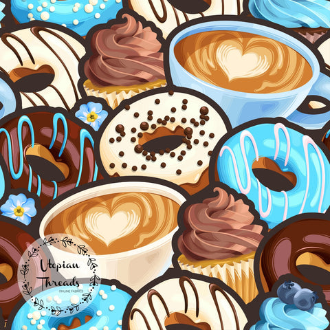 CUSTOM DIGITAL FABRIC Coffee & Donuts - Blue  - BY REQUEST