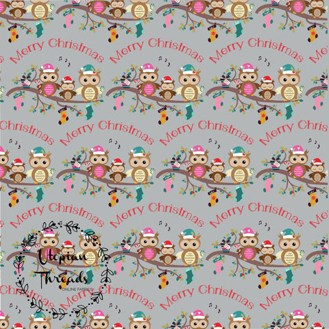 CUSTOM DIGITAL FABRIC Cute Christmas - Merry Owls - PRE ORDER (Sept/Oct 2020)