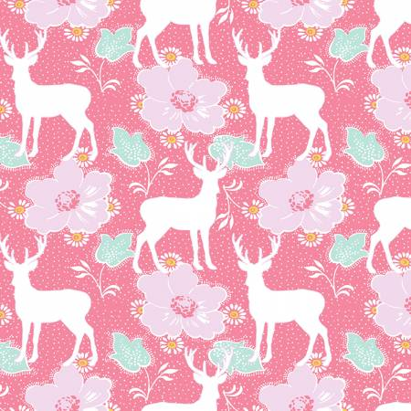 DARLING MEADOW Deer Floral Pink - SALE $17.00 p/m