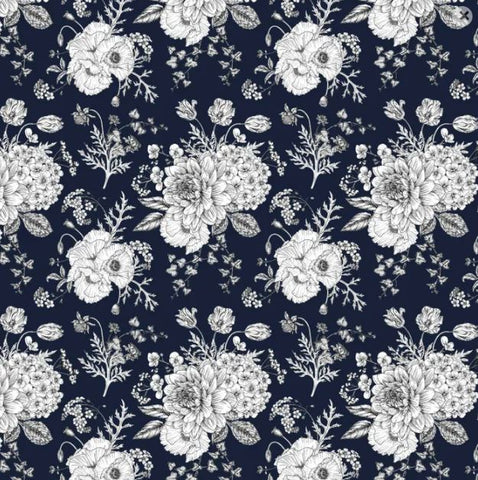 DEVONSTONE LAWN Sketch Floral Navy Blue (Extra Wide)