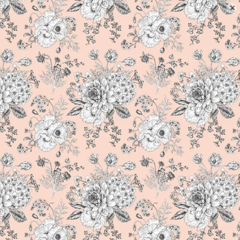 DEVONSTONE LAWN Sketch Floral Peach (Extra Wide)