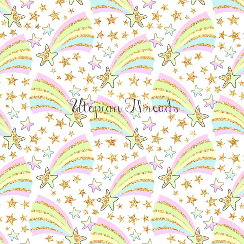 CUSTOM DIGITAL WOVEN (Cotton Sateen 130gsm) Dreamy Babes - Pastel Shooting Stars