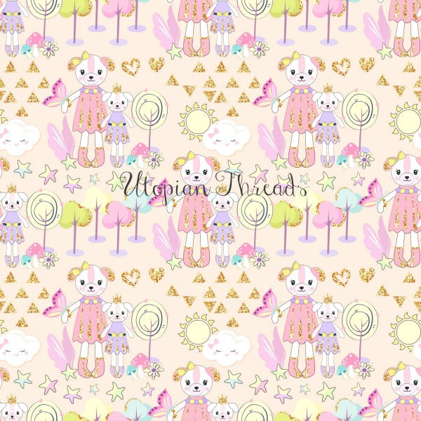 CUSTOM DIGITAL WOVEN (Cotton Sateen 130gsm) Dreamy Babes - Princess Teddy Natural