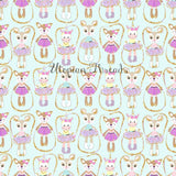 CUSTOM DIGITAL WOVEN (Cotton) Dreamy Babes - Skipping Cuties Mint - PRE ORDER (Oct 2018)