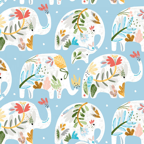 ELLIE Floral Elephant Blue