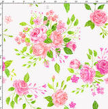 CUSTOM DIGITAL WOVEN (Cotton Poplin 140gsm) English Rose - Pastel Bouquet White