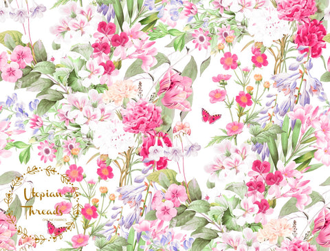 CUSTOM DIGITAL FABRIC Exquisite Florals - Summer Garden  - BY REQUEST