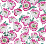 CUSTOM DIGITAL WOVEN (Cotton Sateen 150gsm)  Exquisite Florals - Poppies Pink