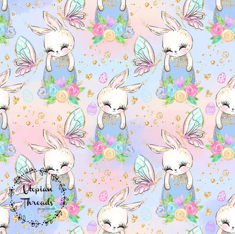 CUSTOM DIGITAL FABRIC Fairies & Bunnies - Sleepy Bunnies Pastel   - BY REQUEST
